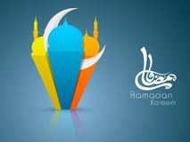 Arabic Islamic calligraphy of text Ramadan Kareem. Or Ramazan Kareem with 3D colorful Mosque and Masjid with moon on blue background, colorful paper artwork Stock Photography