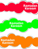 Arabic Islamic calligraphy of text Ramadan Kareem stickers label tag set Stock Photos