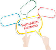 Arabic Islamic calligraphy of text Ramadan Kareem stickers label tag set Royalty Free Stock Photo