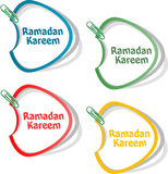Arabic Islamic calligraphy of text Ramadan Kareem stickers label tag set Royalty Free Stock Photos