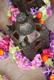 Arabic lamp with flowers Stock Photos