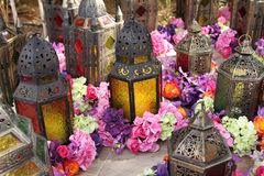 Arabic lamp with flowers Royalty Free Stock Photography
