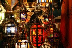 Arabic lamps. Beautiful Arabic lamps made out of glas Royalty Free Stock Image