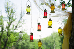 Arabic lamps. Beautiful Arabic lamps on a background of nature Stock Images