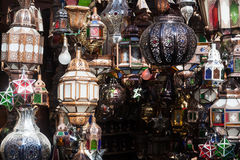 Arabic lamps in Marrakesh Royalty Free Stock Photos