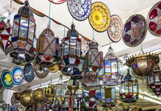Arabic lamps. Moroccan oriental traditional souvenirs Stock Image
