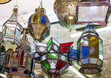 Arabic lamps - Moroccan oriental traditional souvenirs. Royalty Free Stock Photo