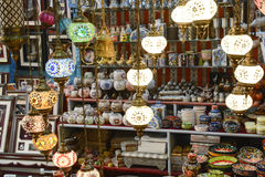 Arabic lamps. Traditional arabic lamps sold in the old town market in Muttrah, Muscat, Oman Royalty Free Stock Photos