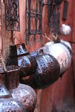 Arabic lamps on walls, bazaar, in souk Stock Image