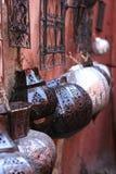 Arabic lamps on walls, bazaar, in souk. Marocco, Marrakesh Stock Image