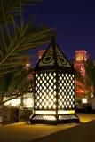Arabic Lantern. Traditional Ramadan Lantern in dubai with Arab architecture (wind tower) background Royalty Free Stock Image