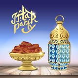 Arabic lantern and classic bowl of dates on wooden table. ramadan iftar party food. 3d realistic vector illustration vector illustration