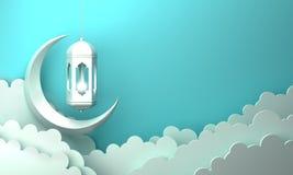 Arabic lantern, cloud, crescent, on blue pastel background copy space text. Design creative concept for islamic celebration day ramadan kareem or eid al fitr stock illustration