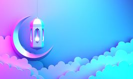 Arabic lantern, cloud, crescent, on blue pink violet gradient background copy space text. Design creative concept for islamic celebration day ramadan kareem or stock illustration