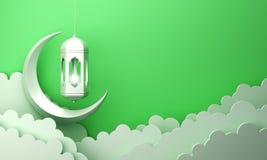 Arabic lantern, cloud, crescent, on green pastel background copy space text. Design creative concept for islamic celebration day ramadan kareem or eid al fitr vector illustration