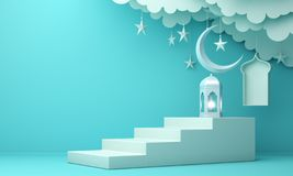 Arabic lantern, cloud, crescent moon star, steps and window on blue pastel background. Design creative concept for islamic celebration day ramadan kareem or vector illustration