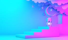 Arabic lantern, cloud, crescent moon star, steps and window on green pastel background. Design creative concept for islamic celebration day ramadan kareem or stock illustration