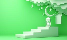 Arabic lantern, cloud, crescent moon star, steps and window on green pastel background. Design creative concept for islamic celebration day ramadan kareem or royalty free illustration