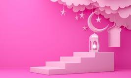 Arabic lantern, cloud, crescent moon star, steps and window on pink pastel background. Design creative concept for islamic celebration day ramadan kareem or vector illustration