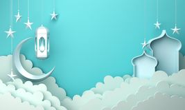 Arabic lantern, cloud, crescent moon star, window on blue pastel background copy space text. Design creative concept for islamic celebration day ramadan kareem vector illustration