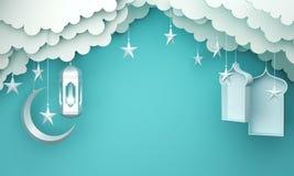 Arabic lantern, cloud, crescent star, window on blue pastel background copy space text. Design creative concept for islamic celebration day ramadan kareem or royalty free illustration