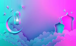 Arabic lantern, cloud, crescent star, window on blue pink gradient background copy space text. Design creative concept for islamic celebration day ramadan vector illustration