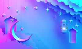 Arabic lantern, cloud, crescent star, window on blue pink gradient background copy space text. Design creative concept for islamic celebration day ramadan royalty free illustration