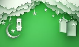 Arabic lantern, cloud, crescent star, window on green pastel background copy space text. Design creative concept for islamic celebration day ramadan kareem or royalty free illustration