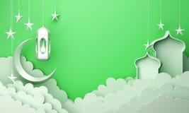Arabic lantern, cloud, crescent star, window on green pastel background copy space text. Design creative concept for islamic celebration day ramadan kareem or vector illustration