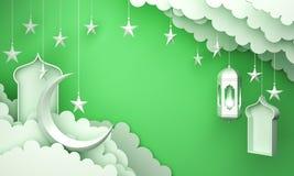 Arabic lantern, cloud, crescent star, window on green pastel background copy space text. Design creative concept for islamic celebration day ramadan kareem or stock illustration