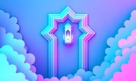 Arabic lantern, cloud, door on blue pink violet gradient background copy space text. Design creative concept for islamic celebration day ramadan kareem or eid vector illustration