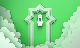 Arabic lantern, cloud, door on green pastel background copy space text. Design creative concept for islamic celebration day ramadan kareem or eid al fitr adha royalty free illustration