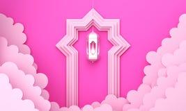 Arabic lantern, cloud, door on pink pastel background copy space text. Design creative concept for islamic celebration day ramadan kareem or eid al fitr adha stock illustration