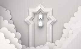Arabic lantern, cloud, door on white background copy space text. Design creative concept for islamic celebration day ramadan kareem or eid al fitr adha. 3d royalty free illustration