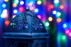 Arabic lantern on colorful light background. Ramadan, Eid concept background Royalty Free Stock Photos