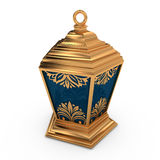 Arabic Lantern with Floral Motifs. In gold with blue glass Stock Photos