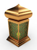 Arabic Lantern with Floral Motifs. In Shiny Gold Motifs with Green glass Stock Photography