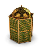 Arabic Lantern with Floral Motifs. In Shiny Gold Motifs with Green glass Stock Images