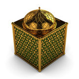 Arabic Lantern with Floral Motifs. In Shiny Gold Motifs with Green glass Royalty Free Stock Photos