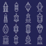 Arabic lantern line art set. Fanous Ramadan lamp, traditional candle-lit symbol. Vector flat style illustration isolated on dark background Royalty Free Stock Photos