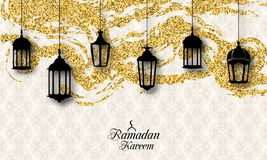 Arabic Lanterns, Fanoos for Ramadan Kareem, Islamic Glitter Card Stock Images