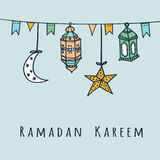Arabic lanterns, flags, moon and stars, Ramadan  illustration Stock Image
