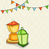 Arabic lanterns for holy month Ramadan Kareem celebration. Royalty Free Stock Photography