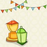 Arabic lanterns for holy month Ramadan Kareem celebration. Royalty Free Stock Photography
