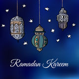 Arabic lanterns with stars,  illustration background Royalty Free Stock Photos
