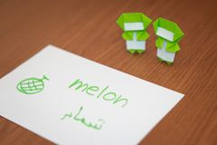 Arabic; Learning New Language with Fruits Name Flash Cards.  Stock Images