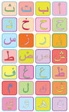 Arabic Letters. Colored arabic letters in boxes for kids Royalty Free Stock Photo