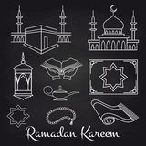 Arabic linear signs on chalkboard Royalty Free Stock Images