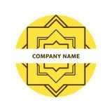Arabic logo. Geometric logotype in islamic style. Hexagram icons iwith simple text. Jewish symbol concept. Round Emblem, br. Arabic logo. Geometric logotype in stock illustration