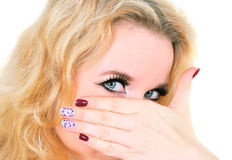 Arabic makeup and fashion manicure Stock Photos